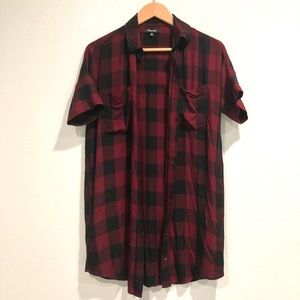Madewell Red and Black Flannel Button Up Dress XXS